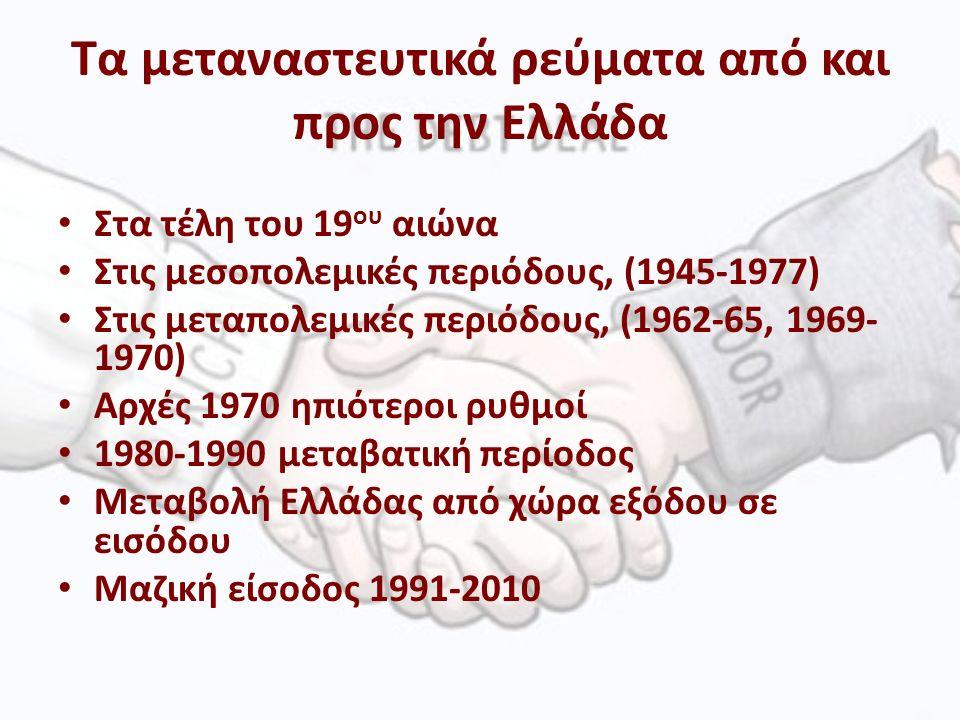 Τα μεταναστευτικά ρεύματα από και προς την Ελλάδα Στα τέλη του 19 ου αιώνα Στις μεσοπολεμικές περιόδους, (1945-1977) Στις μεταπολεμικές περιόδους, (1962-65, 1969- 1970) Αρχές 1970 ηπιότεροι ρυθμοί 1980-1990 μεταβατική περίοδος Μεταβολή Ελλάδας από χώρα εξόδου σε εισόδου Μαζική είσοδος 1991-2010