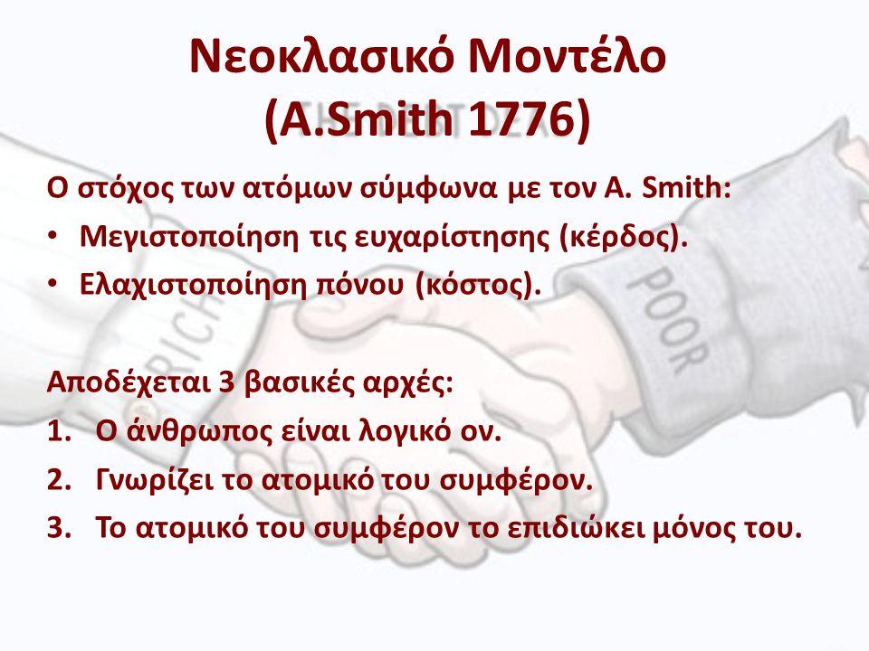 O στόχος των ατόμων σύμφωνα με τον A. Smith: Μεγιστοποίηση τις ευχαρίστησης (κέρδος).