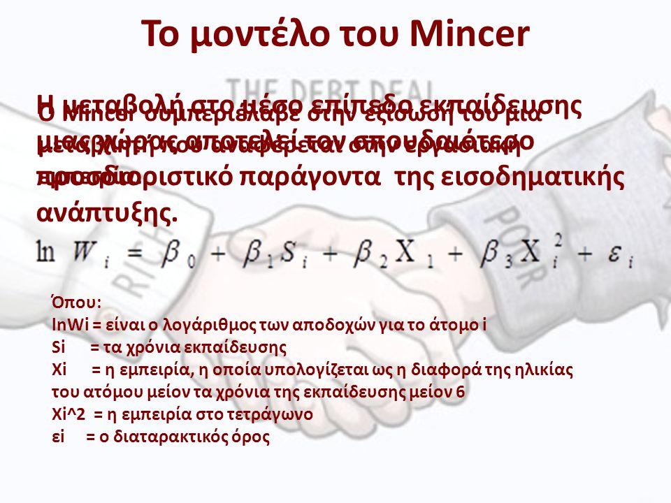 Το μοντέλο του Mincer Η μεταβολή στο μέσο επίπεδο εκπαίδευσης μιας χώρας αποτελεί τον σπουδαιότερο προσδιοριστικό παράγοντα της εισοδηματικής ανάπτυξης.