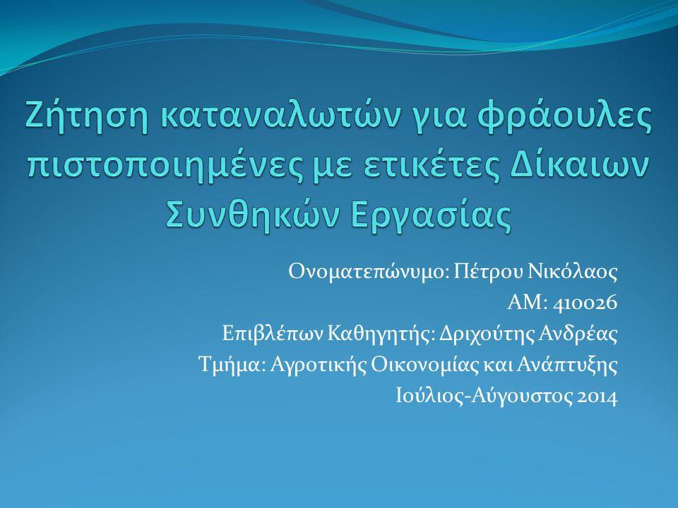 Ονοματεπώνυμο: Πέτρου Νικόλαος ΑΜ: 410026 Επιβλέπων Καθηγητής: Δριχούτης Ανδρέας Τμήμα: Αγροτικής Οικονομίας και Ανάπτυξης Ιούλιος-Αύγουστος 2014