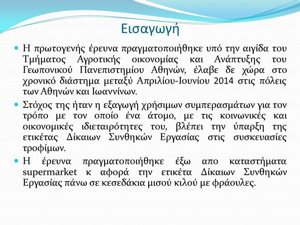 Η πρωτογενής έρευνα πραγματοποιήθηκε υπό την αιγίδα του Τμήματος Αγροτικής οικονομίας και Ανάπτυξης του Γεωπονικού Πανεπιστημίου Αθηνών, έλαβε δε χώρα στο χρονικό διάστημα μεταξύ Απριλίου-Ιουνίου 2014 στις πόλεις των Αθηνών και Ιωαννίνων.