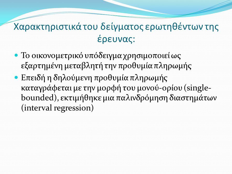 Χαρακτηριστικά του δείγματος ερωτηθέντων της έρευνας: Το οικονομετρικό υπόδειγμα χρησιμοποιεί ως εξαρτημένη μεταβλητή την προθυμία πληρωμής Επειδή η δηλούμενη προθυμία πληρωμής καταγράφεται με την μορφή του μονού-ορίου (single- bounded), εκτιμήθηκε μια παλινδρόμηση διαστημάτων (interval regression)