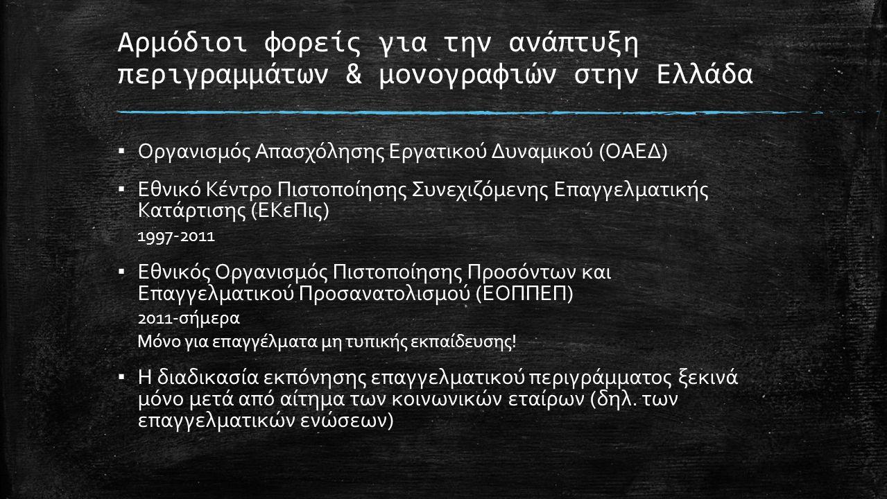Αρμόδιοι φορείς για την ανάπτυξη περιγραμμάτων & μονογραφιών στην Ελλάδα ▪ Οργανισμός Απασχόλησης Εργατικού Δυναμικού (ΟΑΕΔ) ▪ Εθνικό Κέντρο Πιστοποίησης Συνεχιζόμενης Επαγγελματικής Κατάρτισης (ΕΚεΠις) 1997-2011 ▪ Εθνικός Οργανισμός Πιστοποίησης Προσόντων και Επαγγελματικού Προσανατολισμού (ΕΟΠΠΕΠ) 2011-σήμερα Μόνο για επαγγέλματα μη τυπικής εκπαίδευσης.