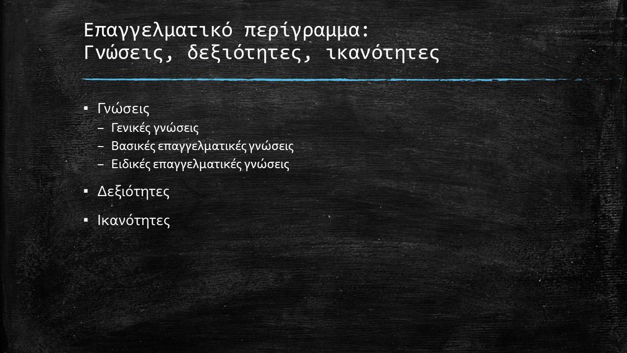 Επαγγελματικό περίγραμμα: Γνώσεις, δεξιότητες, ικανότητες ▪ Γνώσεις – Γενικές γνώσεις – Βασικές επαγγελματικές γνώσεις – Ειδικές επαγγελματικές γνώσεις ▪ Δεξιότητες ▪ Ικανότητες