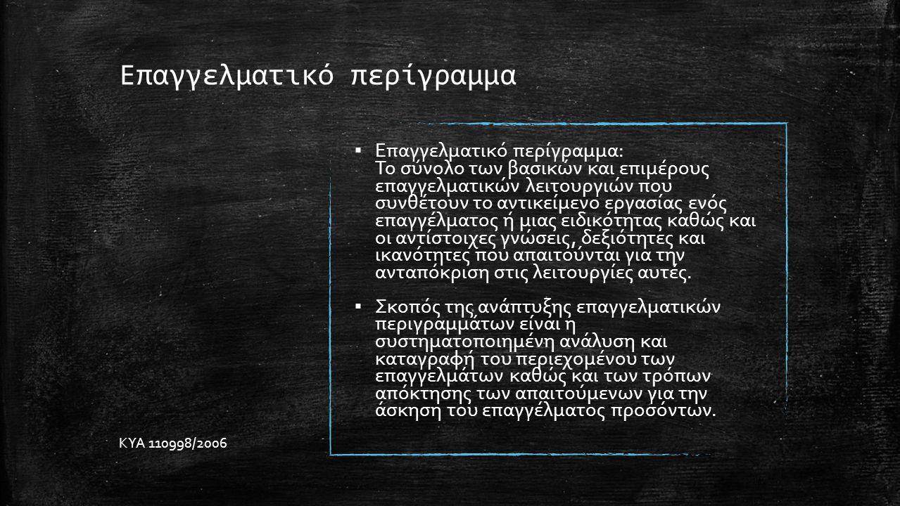 Επαγγελματικό περίγραμμα ▪ Επαγγελματικό περίγραμμα: Το σύνολο των βασικών και επιμέρους επαγγελματικών λειτουργιών που συνθέτουν το αντικείμενο εργασίας ενός επαγγέλματος ή μιας ειδικότητας καθώς και οι αντίστοιχες γνώσεις, δεξιότητες και ικανότητες που απαιτούνται για την ανταπόκριση στις λειτουργίες αυτές.