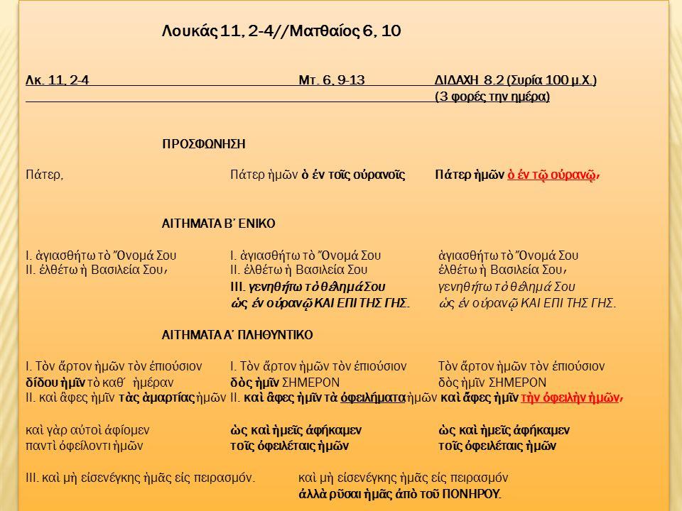Η ΙΔΙΑ ΠΟΙΚΙΛΙΑ ΑΠΑΝΤΑ ΚΑΙ ΣΤΑ ΙΔΡΥΤΙΚΑ ΛΟΓΙΑ ΤΗΣ ΘΕΙΑΣ ΕΥΧΑΡΙΣΤΙΑΣ όπου έχουμε δύο παραδόσεις: α) Παύλος+Λουκάς β) Μάρκος +Ματθαίος ΚΑΙ ΟΙ ΣΥΝΟΠΤΙΚΟΙ ΜΕ ΤΟ ΚΑΤΆ ΙΩΑΝΝΗ ΦΑΙΝΟΝΤΑΙ ΝΑ ΔΙΑΦΩΝΟΥΝ ΣΤΟ ΠΟΤΕ ΑΚΡΙΒΩΣ ΠΡΑΓΜΑΤΟΠΟΙΗΘΗΚΕ ΤΟ ΤΕΛΕΥΤΑΙΟ ΔΕΙΠΝΟ ΤΟΥ ΙΗΣΟΥ.
