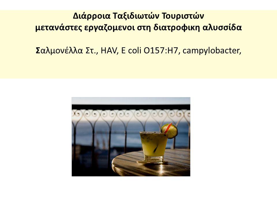 Διάρροια Ταξιδιωτών Τουριστών μετανάστες εργαζομενοι στη διατροφικη αλυσσίδα Σαλμονέλλα Στ., HAV, E coli O157:H7, campylobacter,