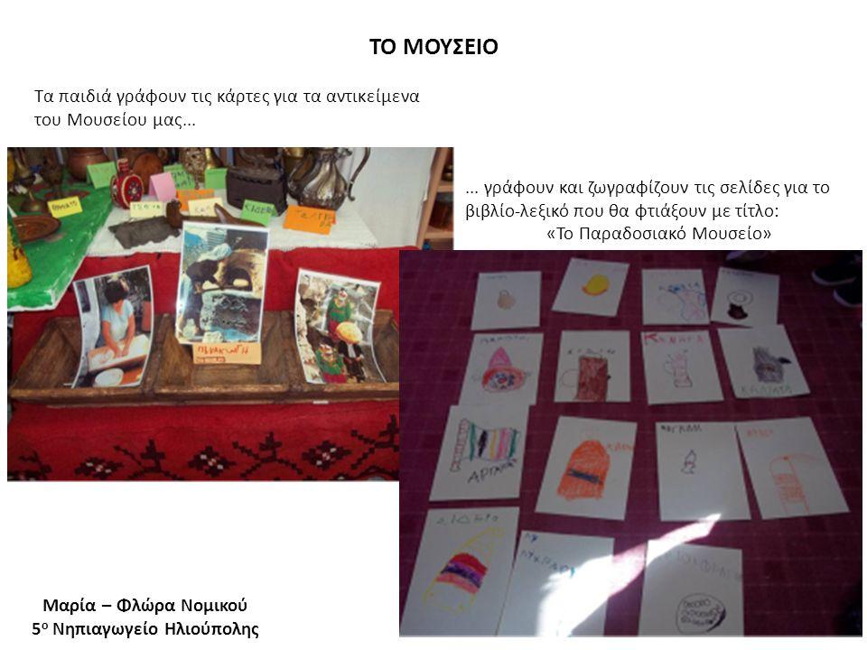 ΤΟ ΜΟΥΣΕΙΟ Μαρία – Φλώρα Νομικού 5 ο Νηπιαγωγείο Ηλιούπολης... γράφουν και ζωγραφίζουν τις σελίδες για το βιβλίο-λεξικό που θα φτιάξουν με τίτλο: «Το