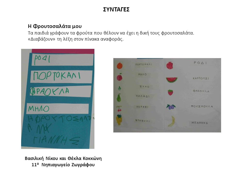 ΣΥΝΤΑΓΕΣ Η Φρουτοσαλάτα μου Τα παιδιά γράφουν τα φρούτα που θέλουν να έχει η δική τους φρουτοσαλάτα. «Διαβάζουν» τη λέξη στον πίνακα αναφοράς. Βασιλικ