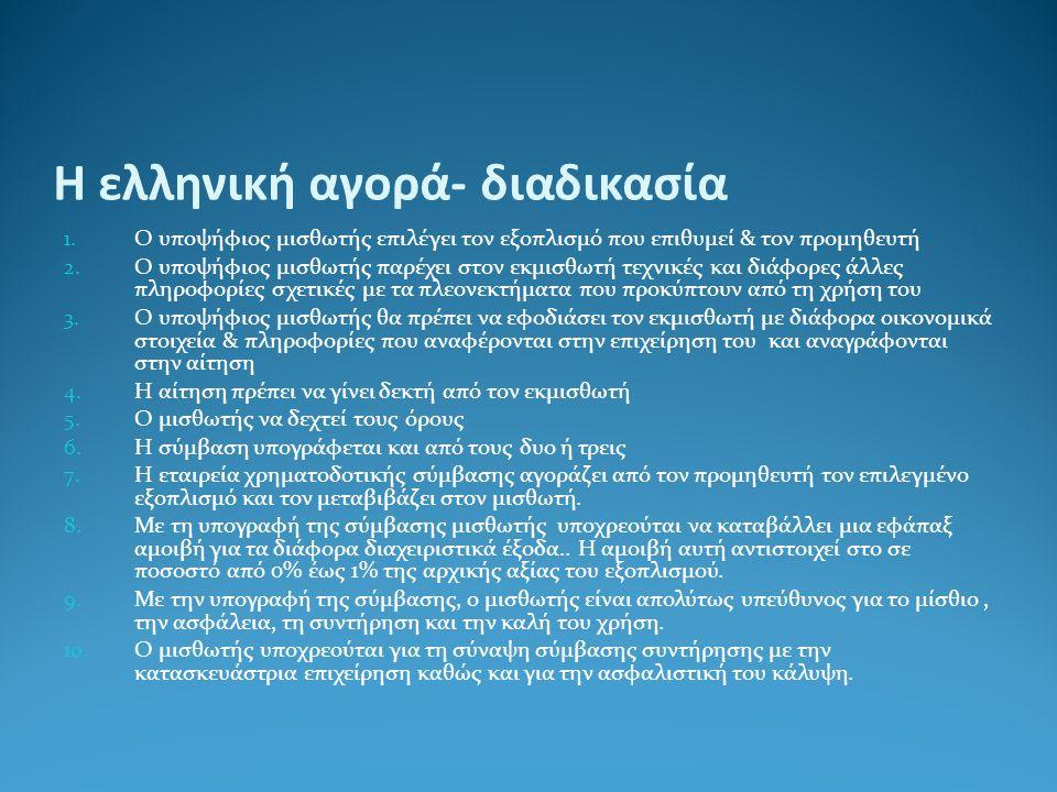 Η ελληνική αγορά- διαδικασία 1. Ο υποψήφιος μισθωτής επιλέγει τον εξοπλισμό που επιθυμεί & τον προμηθευτή 2. Ο υποψήφιος μισθωτής παρέχει στον εκμισθω