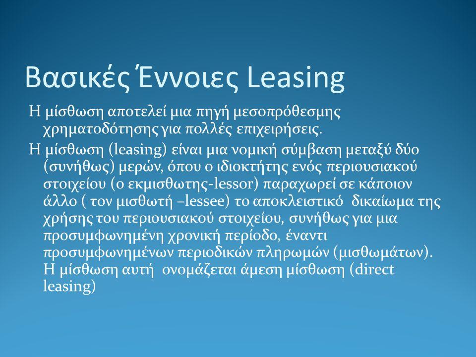 Βασικές Έννοιες Leasing Η μίσθωση αποτελεί μια πηγή μεσοπρόθεσμης χρηματοδότησης για πολλές επιχειρήσεις. Η μίσθωση (leasing) είναι μια νομική σύμβαση