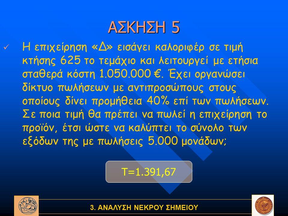 3. ΑΝΑΛΥΣΗ ΝΕΚΡΟΥ ΣΗΜΕΙΟΥ ΑΣΚΗΣΗ 5 Η επιχείρηση «Δ» εισάγει καλοριφέρ σε τιμή κτήσης 625 το τεμάχιο και λειτουργεί με ετήσια σταθερά κόστη 1.050.000 €