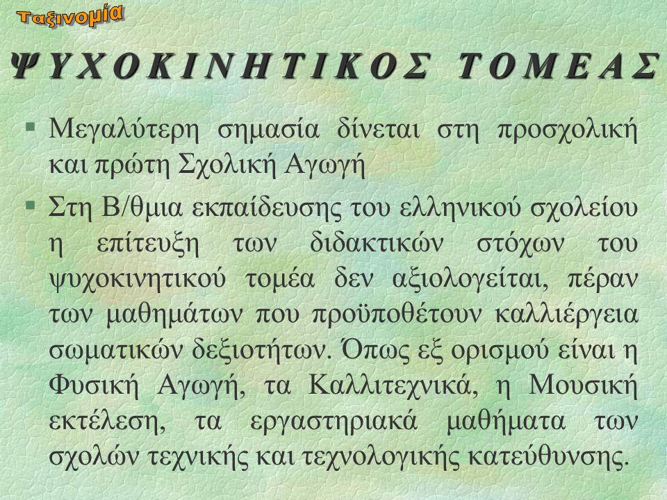 Ψ Υ Χ Ο Κ Ι Ν Η Τ Ι Κ Ο Σ Τ Ο Μ Ε Α Σ §Μεγαλύτερη σημασία δίνεται στη προσχολική και πρώτη Σχολική Αγωγή §Στη Β/θμια εκπαίδευσης του ελληνικού σχολείου η επίτευξη των διδακτικών στόχων του ψυχοκινητικού τομέα δεν αξιολογείται, πέραν των μαθημάτων που προϋποθέτουν καλλιέργεια σωματικών δεξιοτήτων.