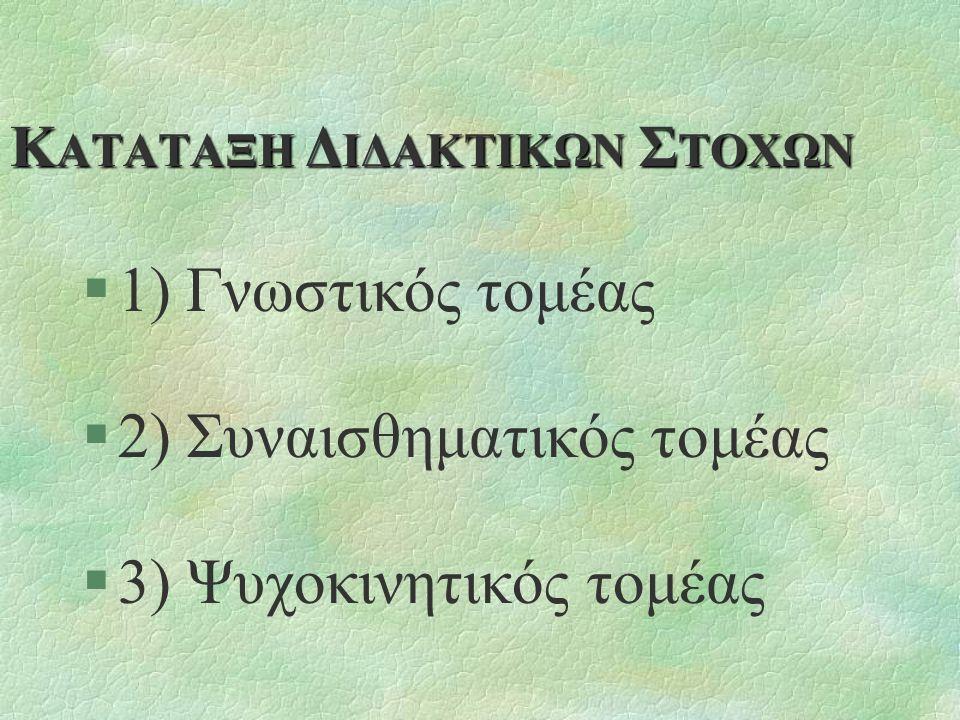 Κ ΑΤΑΤΑΞΗ Δ ΙΔΑΚΤΙΚΩΝ Σ ΤΟΧΩΝ §1) Γνωστικός τομέας §2) Συναισθηματικός τομέας §3) Ψυχοκινητικός τομέας