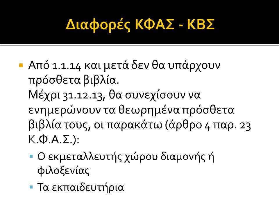  Από 1.1.14 και μετά δεν θα υπάρχουν πρόσθετα βιβλία. Μέχρι 31.12.13, θα συνεχίσουν να ενημερώνουν τα θεωρημένα πρόσθετα βιβλία τους, οι παρακάτω (άρ