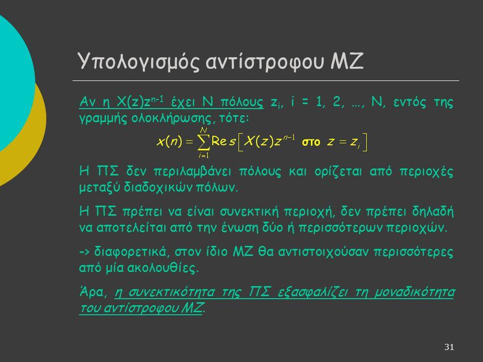 31 Υπολογισμός αντίστροφου ΜΖ Αν η Χ(z)z n-1 έχει Ν πόλους z i, i = 1, 2, …, N, εντός της γραμμής ολοκλήρωσης, τότε: Η ΠΣ δεν περιλαμβάνει πόλους και ορίζεται από περιοχές μεταξύ διαδοχικών πόλων.