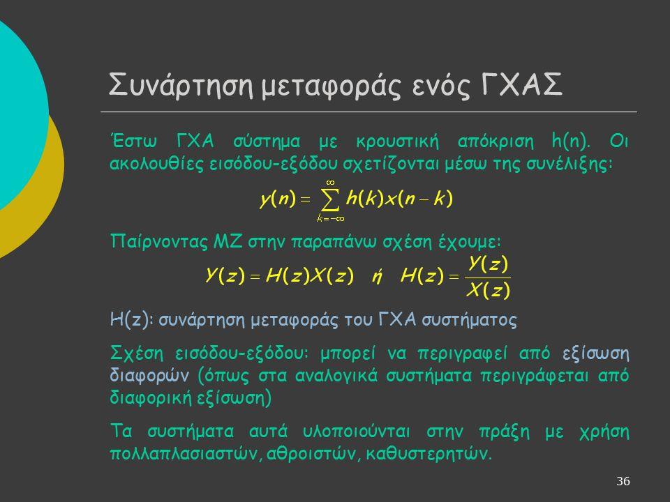 36 Συνάρτηση μεταφοράς ενός ΓΧΑΣ Έστω ΓΧΑ σύστημα με κρουστική απόκριση h(n).