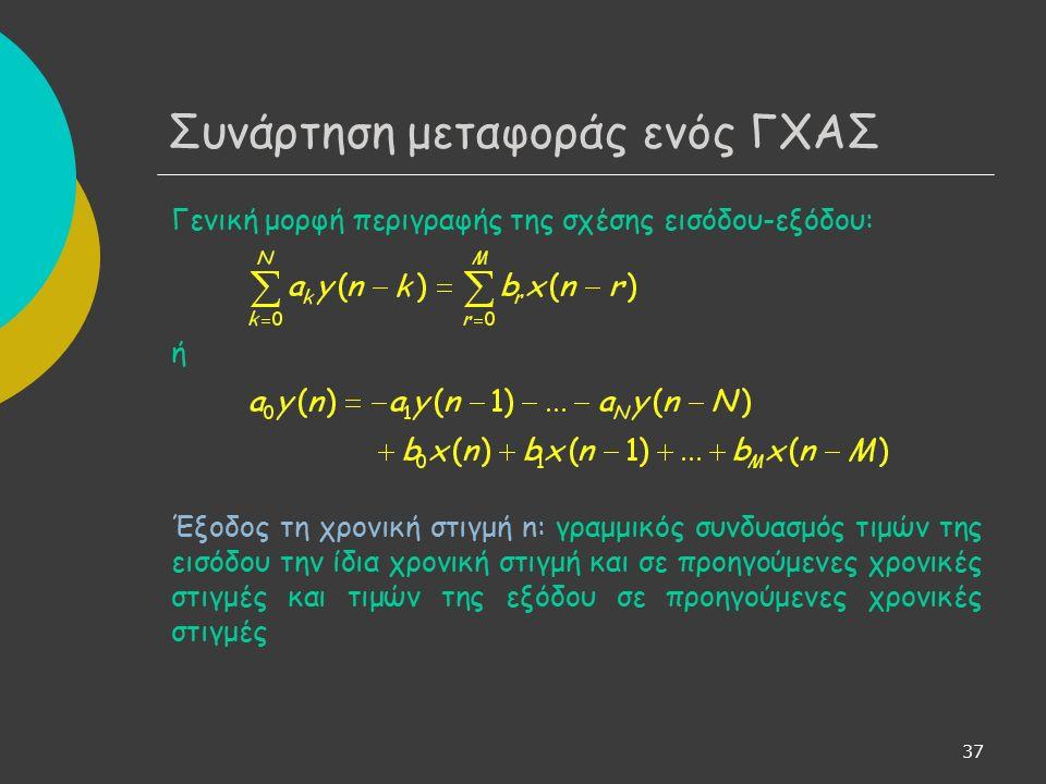 37 Συνάρτηση μεταφοράς ενός ΓΧΑΣ Γενική μορφή περιγραφής της σχέσης εισόδου-εξόδου: ή Έξοδος τη χρονική στιγμή n: γραμμικός συνδυασμός τιμών της εισόδου την ίδια χρονική στιγμή και σε προηγούμενες χρονικές στιγμές και τιμών της εξόδου σε προηγούμενες χρονικές στιγμές