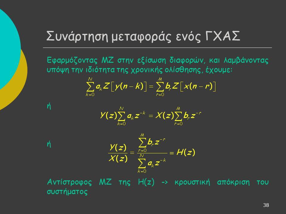 38 Συνάρτηση μεταφοράς ενός ΓΧΑΣ Εφαρμόζοντας ΜΖ στην εξίσωση διαφορών, και λαμβάνοντας υπόψη την ιδιότητα της χρονικής ολίσθησης, έχουμε: ή Αντίστροφος ΜΖ της H(z) -> κρουστική απόκριση του συστήματος