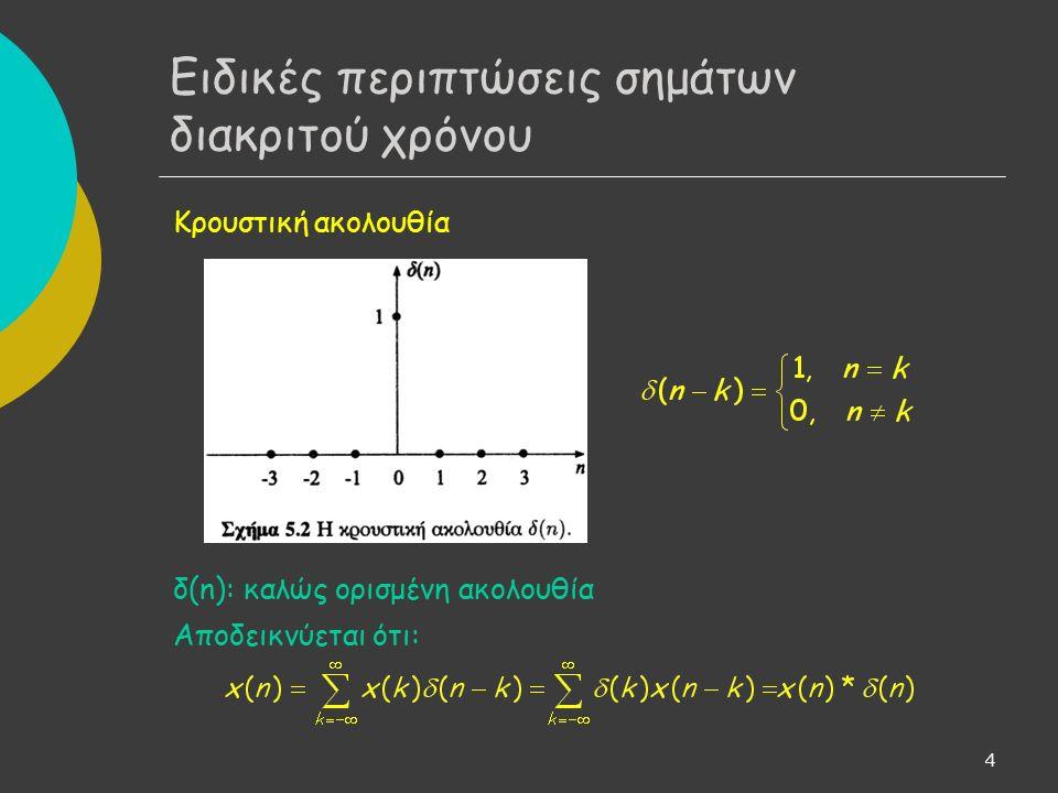 4 Κρουστική ακολουθία δ(n): καλώς ορισμένη ακολουθία Αποδεικνύεται ότι: Ειδικές περιπτώσεις σημάτων διακριτού χρόνου