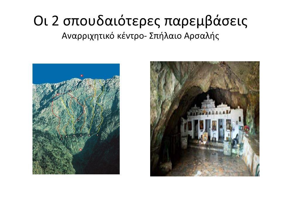 Οι 2 σπουδαιότερες παρεμβάσεις Αναρριχητικό κέντρο- Σπήλαιο Αρσαλής