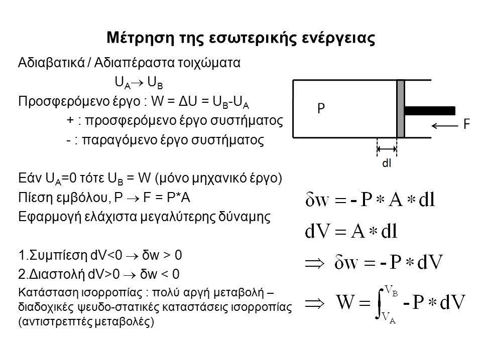 Μέτρηση της εσωτερικής ενέργειας Αδιαβατικά / Αδιαπέραστα τοιχώματα U A  U B Προσφερόμενο έργο : W = ΔU = U B -U A + : προσφερόμενο έργο συστήματος - : παραγόμενο έργο συστήματος Εάν U A =0 τότε U B = W (μόνο μηχανικό έργο) Πίεση εμβόλου, P  F = P*A Εφαρμογή ελάχιστα μεγαλύτερης δύναμης 1.Συμπίεση dV 0 2.Διαστολή dV>0  δw < 0 Κατάσταση ισορροπίας : πολύ αργή μεταβολή – διαδοχικές ψευδο-στατικές καταστάσεις ισορροπίας (αντιστρεπτές μεταβολές)