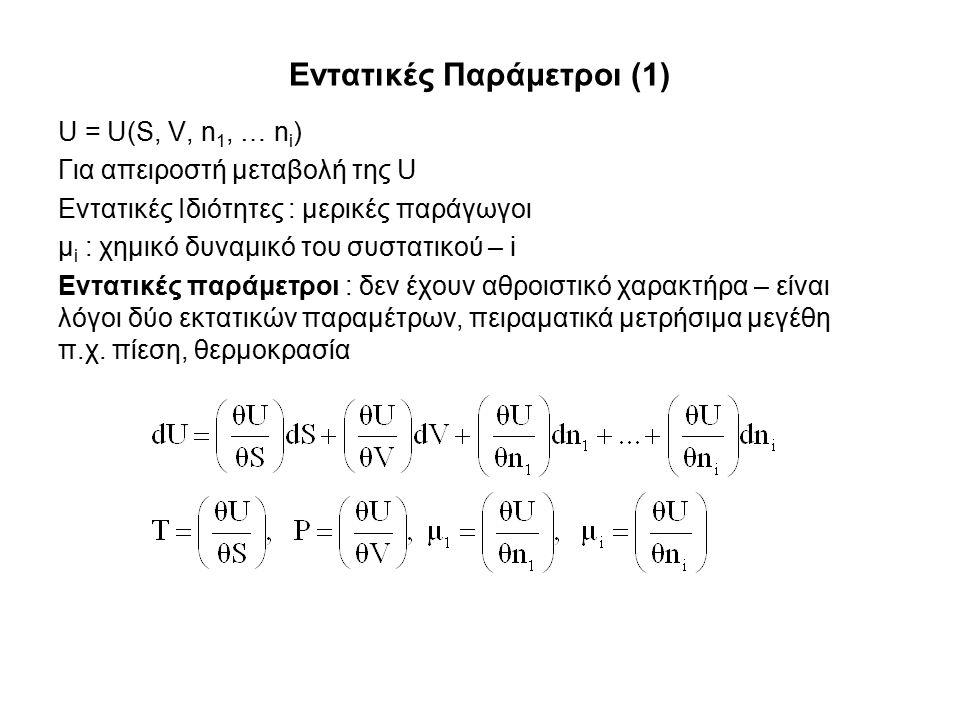 Εντατικές Παράμετροι (1) U = U(S, V, n 1, … n i ) Για απειροστή μεταβολή της U Εντατικές Ιδιότητες : μερικές παράγωγοι μ i : χημικό δυναμικό του συστατικού – i Εντατικές παράμετροι : δεν έχουν αθροιστικό χαρακτήρα – είναι λόγοι δύο εκτατικών παραμέτρων, πειραματικά μετρήσιμα μεγέθη π.χ.
