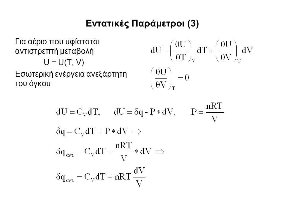 Εντατικές Παράμετροι (3) Για αέριο που υφίσταται αντιστρεπτή μεταβολή U = U(T, V) Εσωτερική ενέργεια ανεξάρτητη του όγκου