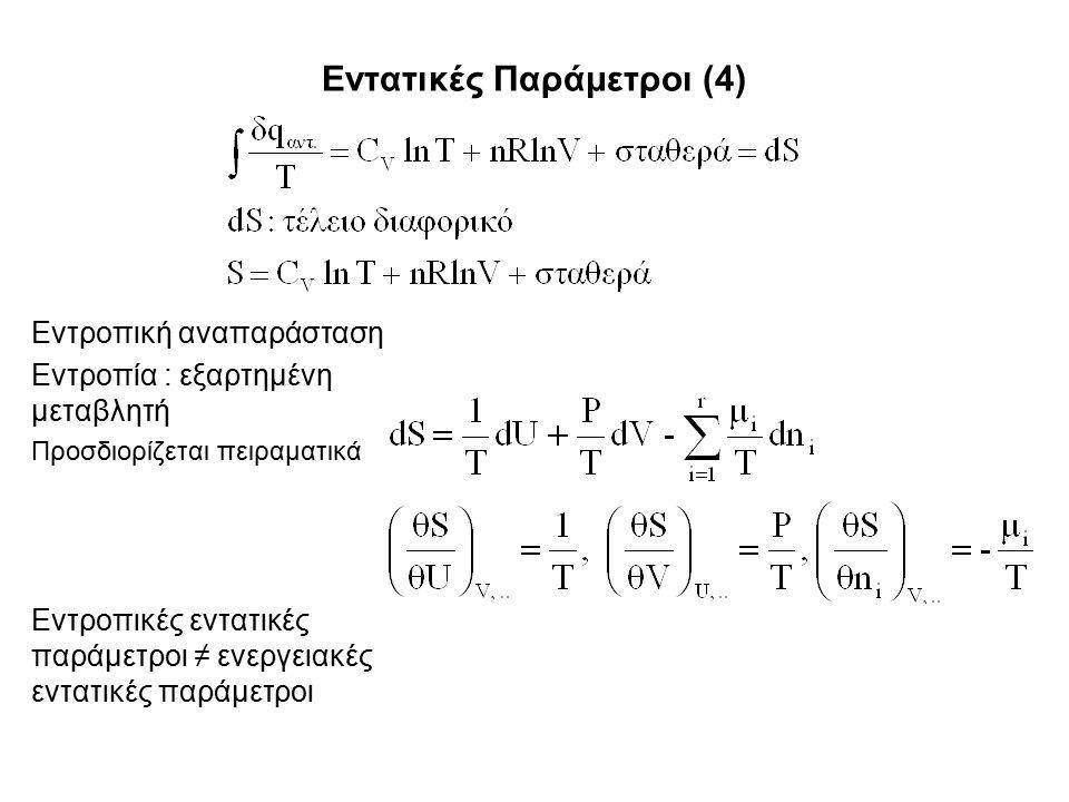 Εντατικές Παράμετροι (4) Εντροπική αναπαράσταση Εντροπία : εξαρτημένη μεταβλητή Προσδιορίζεται πειραματικά Εντροπικές εντατικές παράμετροι ≠ ενεργειακές εντατικές παράμετροι