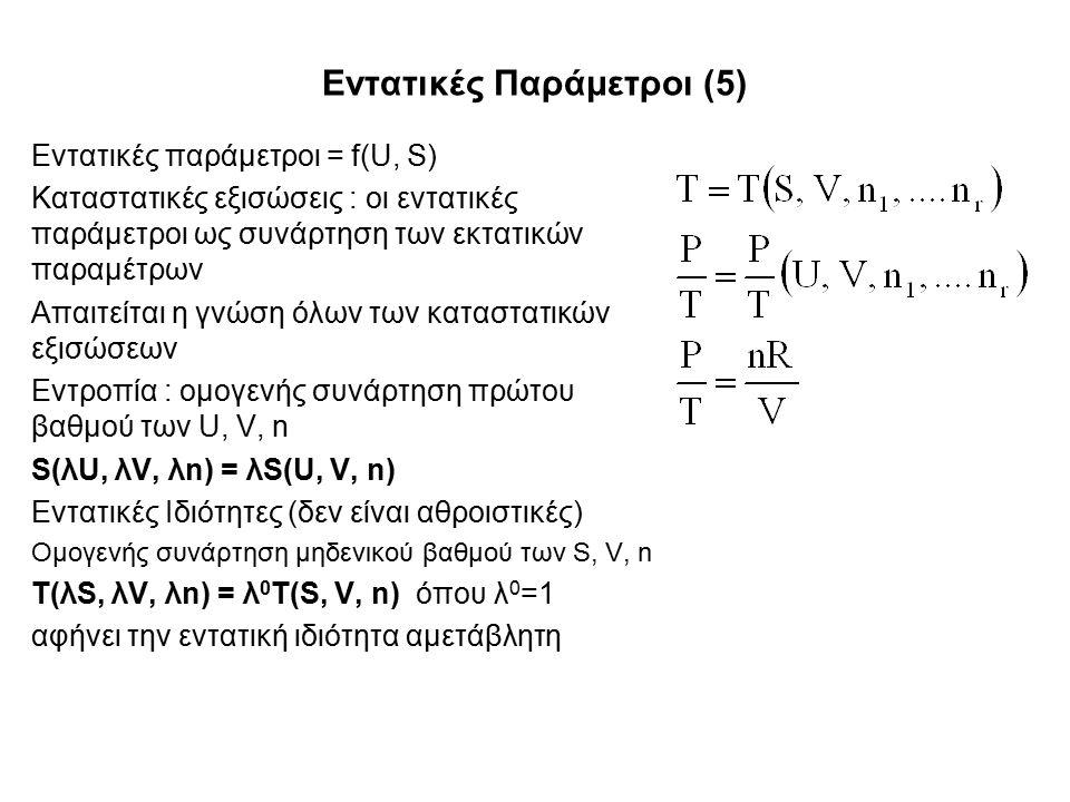 Εντατικές Παράμετροι (5) Εντατικές παράμετροι = f(U, S) Καταστατικές εξισώσεις : οι εντατικές παράμετροι ως συνάρτηση των εκτατικών παραμέτρων Απαιτείται η γνώση όλων των καταστατικών εξισώσεων Εντροπία : ομογενής συνάρτηση πρώτου βαθμού των U, V, n S(λU, λV, λn) = λS(U, V, n) Εντατικές Ιδιότητες (δεν είναι αθροιστικές) Ομογενής συνάρτηση μηδενικού βαθμού των S, V, n T(λS, λV, λn) = λ 0 T(S, V, n) όπου λ 0 =1 αφήνει την εντατική ιδιότητα αμετάβλητη