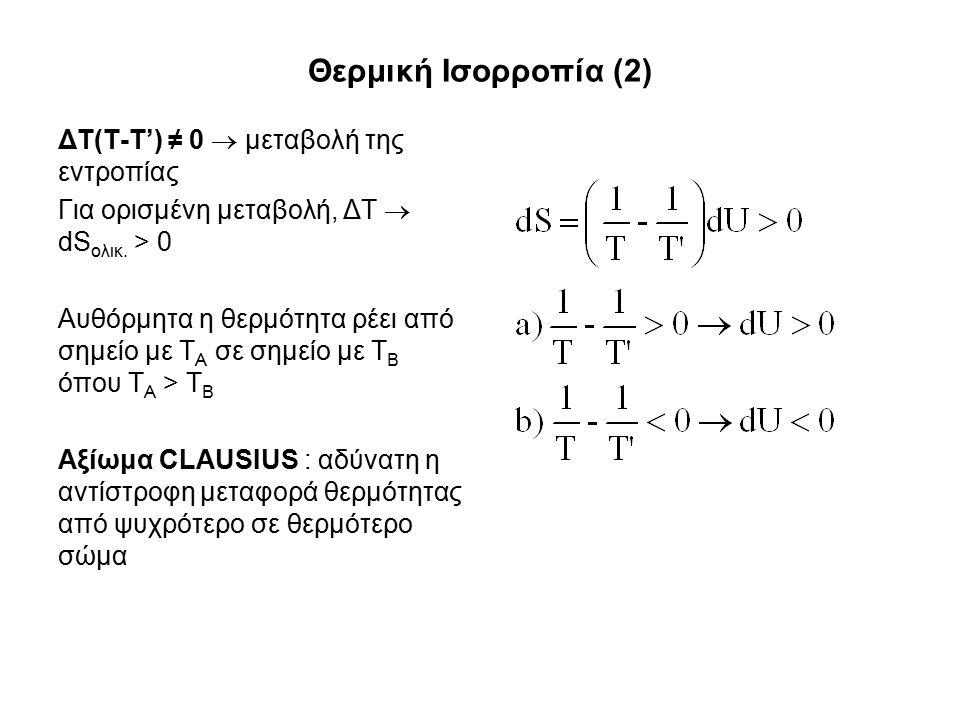 Θερμική Ισορροπία (2) ΔΤ(T-T') ≠ 0  μεταβολή της εντροπίας Για ορισμένη μεταβολή, ΔT  dS ολικ.