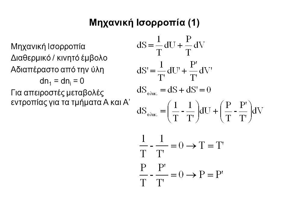 Μηχανική Ισορροπία (1) Μηχανική Ισορροπία Διαθερμικό / κινητό έμβολο Αδιαπέραστο από την ύλη dn 1 = dn i = 0 Για απειροστές μεταβολές εντροπίας για τα τμήματα Α και Α'