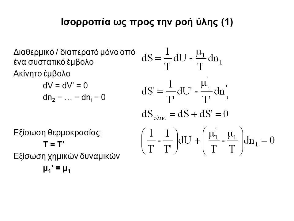 Ισορροπία ως προς την ροή ύλης (1) Διαθερμικό / διαπερατό μόνο από ένα συστατικό έμβολο Ακίνητο έμβολο dV = dV' = 0 dn 2 = … = dn i = 0 Εξίσωση θερμοκρασίας: T = T' Εξίσωση χημικών δυναμικών μ 1 ' = μ 1