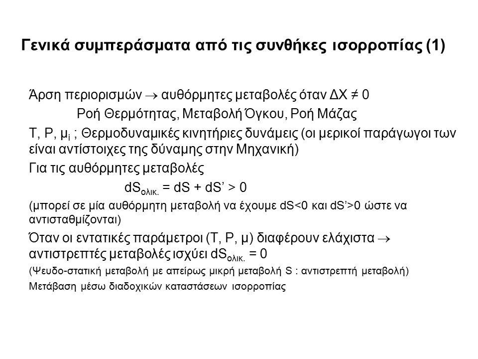 Γενικά συμπεράσματα από τις συνθήκες ισορροπίας (1) Άρση περιορισμών  αυθόρμητες μεταβολές όταν ΔΧ ≠ 0 Ροή Θερμότητας, Μεταβολή Όγκου, Ροή Μάζας T, P, μ i ; Θερμοδυναμικές κινητήριες δυνάμεις (οι μερικοί παράγωγοι των είναι αντίστοιχες της δύναμης στην Μηχανική) Για τις αυθόρμητες μεταβολές dS ολικ.