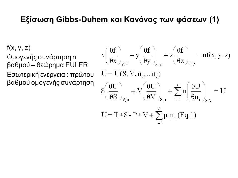 Εξίσωση Gibbs-Duhem και Κανόνας των φάσεων (1) f(x, y, z) Ομογενής συνάρτηση n βαθμού – θεώρημα EULER Εσωτερική ενέργεια : πρώτου βαθμού ομογενής συνάρτηση