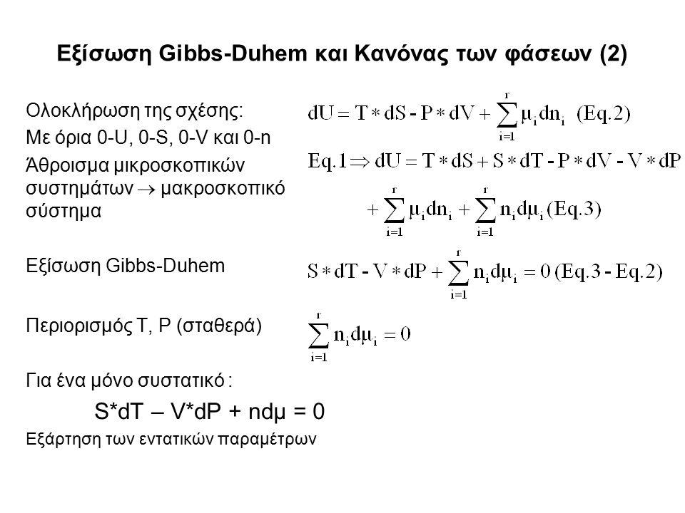 Εξίσωση Gibbs-Duhem και Κανόνας των φάσεων (2) Ολοκλήρωση της σχέσης: Με όρια 0-U, 0-S, 0-V και 0-n Άθροισμα μικροσκοπικών συστημάτων  μακροσκοπικό σύστημα Εξίσωση Gibbs-Duhem Περιορισμός T, P (σταθερά) Για ένα μόνο συστατικό : S*dT – V*dP + ndμ = 0 Εξάρτηση των εντατικών παραμέτρων