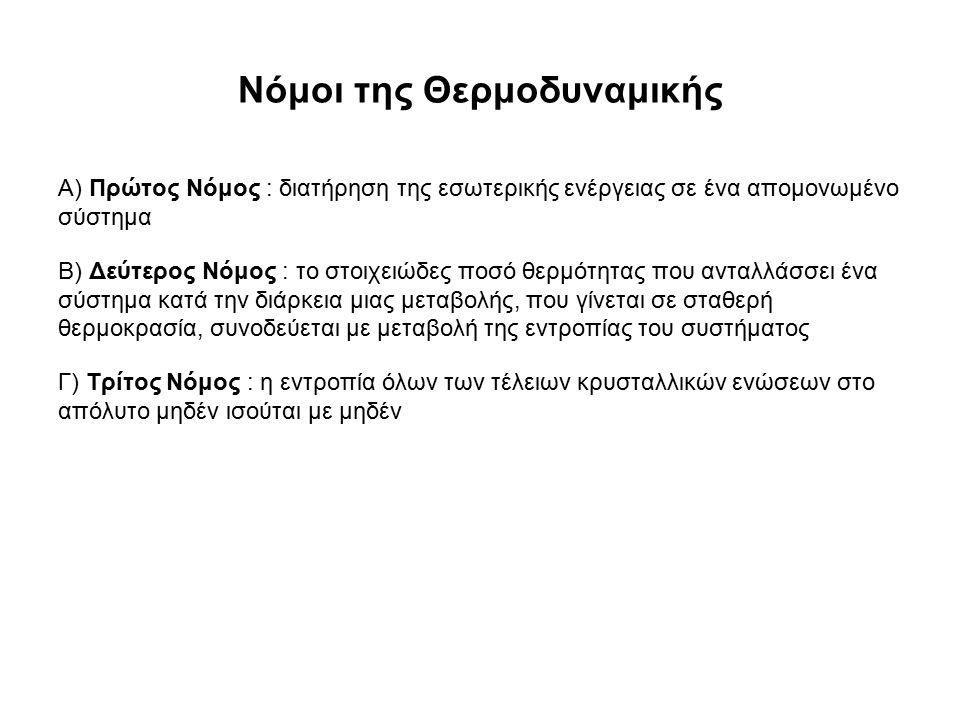 Νόμοι της Θερμοδυναμικής Α) Πρώτος Νόμος : διατήρηση της εσωτερικής ενέργειας σε ένα απομονωμένο σύστημα Β) Δεύτερος Νόμος : το στοιχειώδες ποσό θερμότητας που ανταλλάσσει ένα σύστημα κατά την διάρκεια μιας μεταβολής, που γίνεται σε σταθερή θερμοκρασία, συνοδεύεται με μεταβολή της εντροπίας του συστήματος Γ) Τρίτος Νόμος : η εντροπία όλων των τέλειων κρυσταλλικών ενώσεων στο απόλυτο μηδέν ισούται με μηδέν