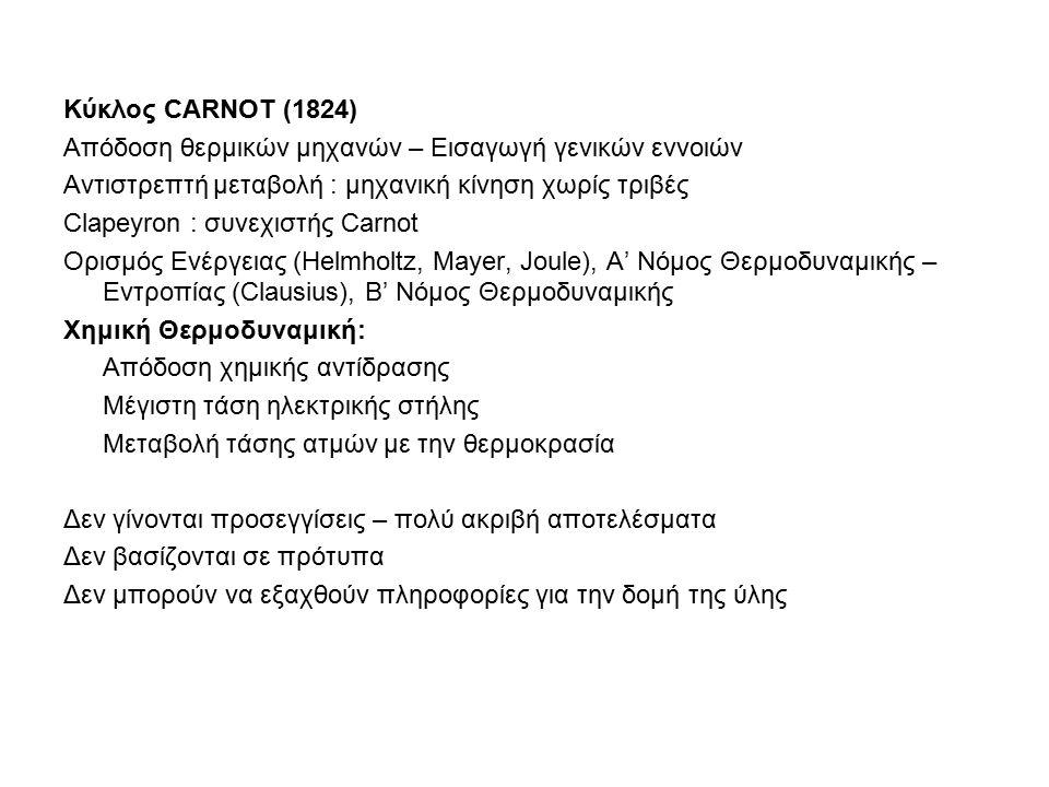 Κύκλος CARNOT (1824) Απόδοση θερμικών μηχανών – Εισαγωγή γενικών εννοιών Αντιστρεπτή μεταβολή : μηχανική κίνηση χωρίς τριβές Clapeyron : συνεχιστής Carnot Ορισμός Ενέργειας (Helmholtz, Mayer, Joule), A' Νόμος Θερμοδυναμικής – Εντροπίας (Clausius), Β' Νόμος Θερμοδυναμικής Χημική Θερμοδυναμική: Απόδοση χημικής αντίδρασης Μέγιστη τάση ηλεκτρικής στήλης Μεταβολή τάσης ατμών με την θερμοκρασία Δεν γίνονται προσεγγίσεις – πολύ ακριβή αποτελέσματα Δεν βασίζονται σε πρότυπα Δεν μπορούν να εξαχθούν πληροφορίες για την δομή της ύλης