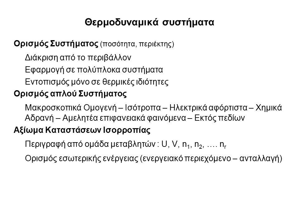 Α' Νόμος της Θερμοδυναμικής Αρχή διατήρησης της εσωτερικής ενέργειας του συστήματος ' Η εσωτερική ενέργεια ενός απομονωμένου συστήματος είναι σταθερή ' Μέτρηση διαφορών εσωτερικής ενέργειας – καθορισμός πρότυπης κατάστασης Εκτατικές Παράμετροι : Χ = U, V, n i Αθροιστικός Χαρακτήρας Χ = Χ 1 + Χ 2 Θεμελιώδη μεγέθη, δεν προσδιορίζονται πειραματικά Καθορισμός Τοιχωμάτων Περιοριστικά ως προς μια εκτατική ιδιότητα Θερμότητα : Αδιαβατικά (μη-περατά) ≠ Διαθερμικά (περατά) Ημιπερατά τοιχώματα ως προς την ύλη