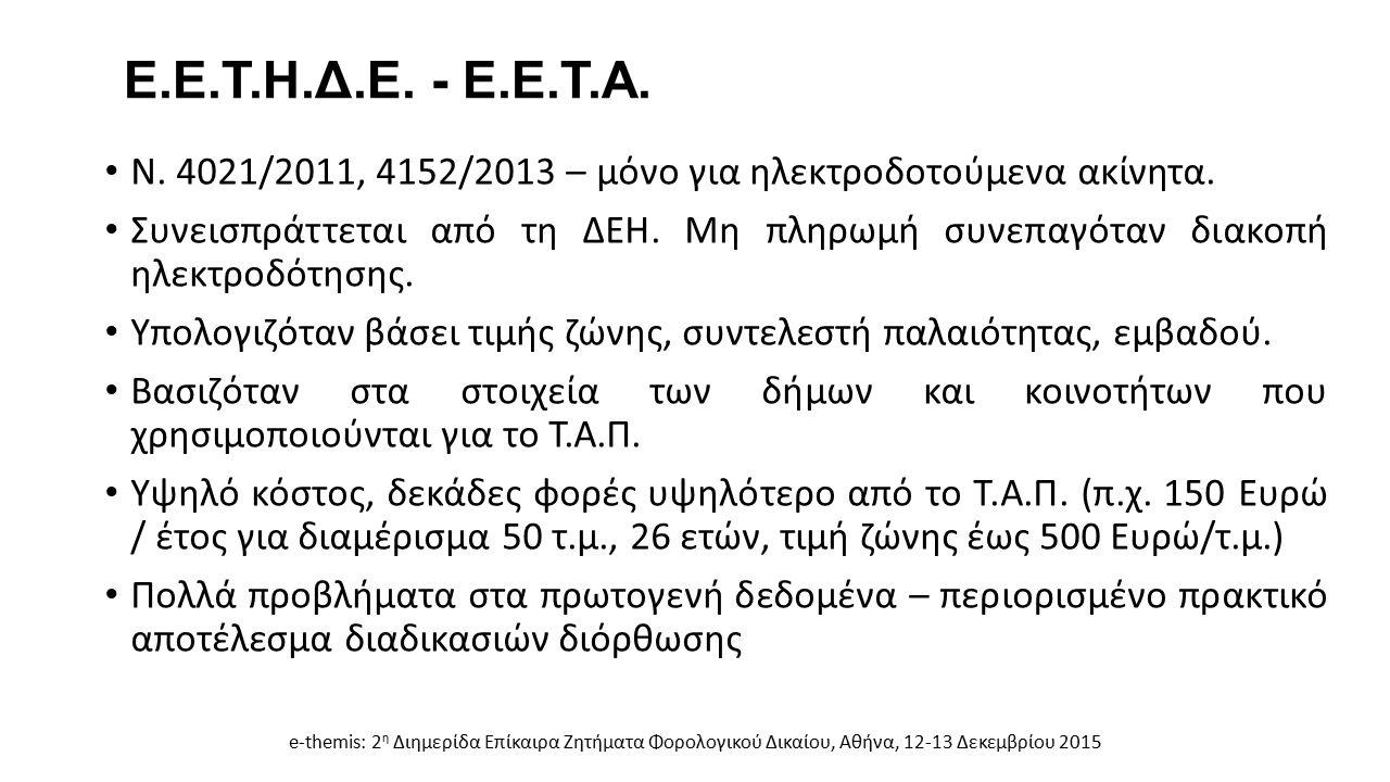 Ε.Ε.Τ.Η.Δ.Ε. - Ε.Ε.Τ.Α. Ν. 4021/2011, 4152/2013 – μόνο για ηλεκτροδοτούμενα ακίνητα. Συνεισπράττεται από τη ΔΕΗ. Μη πληρωμή συνεπαγόταν διακοπή ηλεκτρ
