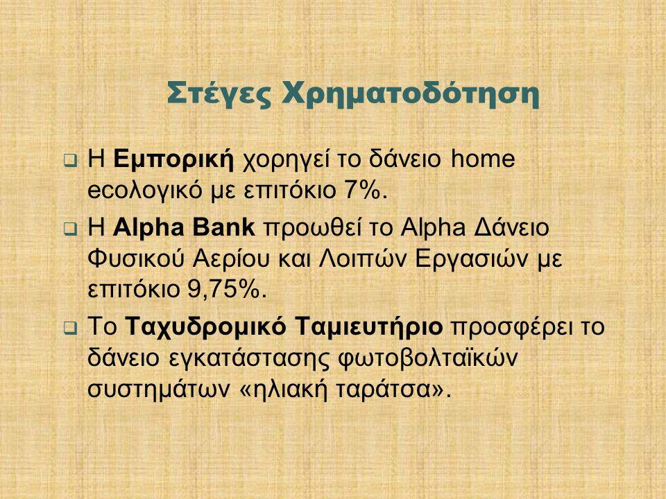 Στέγες Χρηματοδότηση  Η Εμπορική χορηγεί το δάνειο home ecoλογικό με επιτόκιο 7%.  Η Alpha Bank προωθεί το Alpha Δάνειο Φυσικού Αερίου και Λοιπών Ερ