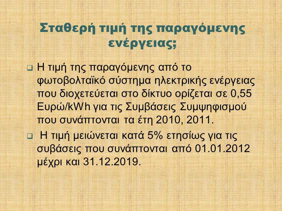 Σταθερή τιμή της παραγόμενης ενέργειας;  Η τιμή της παραγόμενης από το φωτοβολταϊκό σύστημα ηλεκτρικής ενέργειας που διοχετεύεται στο δίκτυο ορίζεται σε 0,55 Ευρώ/kWh για τις Συμβάσεις Συμψηφισμού που συνάπτονται τα έτη 2010, 2011.