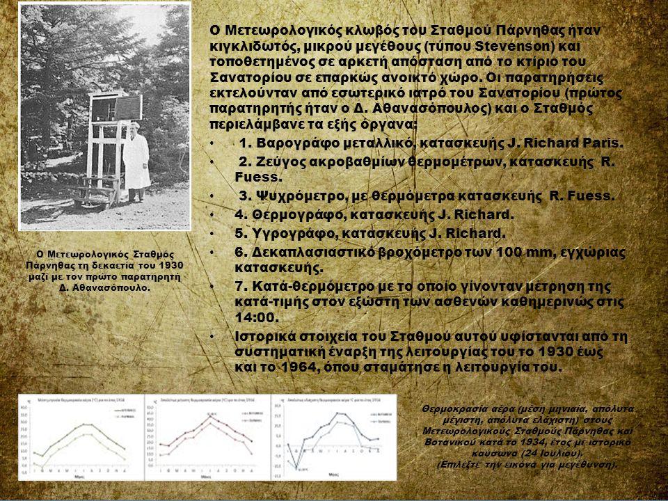Ο Μετεωρολογικός κλωβός του Σταθμού Πάρνηθας ήταν κιγκλιδωτός, μικρού μεγέθους (τύπου Stevenson) και τοποθετημένος σε αρκετή απόσταση από το κτίριο το