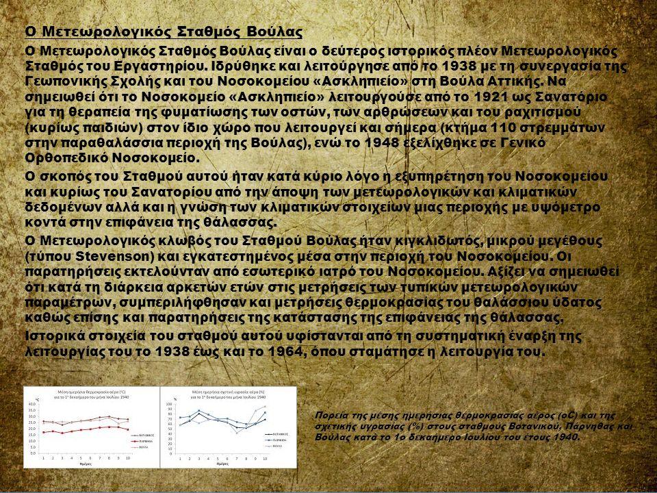 Ο Μετεωρολογικός Σταθμός Βούλας Ο Μετεωρολογικός Σταθμός Βούλας είναι ο δεύτερος ιστορικός πλέον Μετεωρολογικός Σταθμός του Εργαστηρίου. Ιδρύθηκε και
