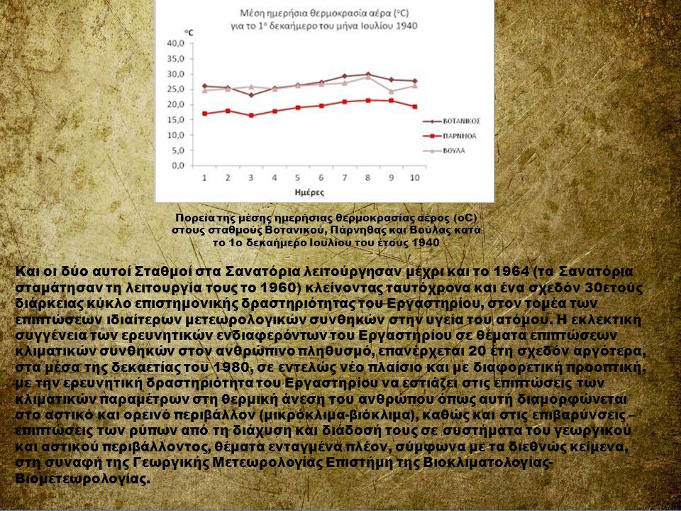 Πορεία της μέσης ημερήσιας θερμοκρασίας αέρος (οC) στους σταθμούς Βοτανικού, Πάρνηθας και Βούλας κατά το 1ο δεκαήμερο Ιουλίου του έτους 1940 Και οι δύ