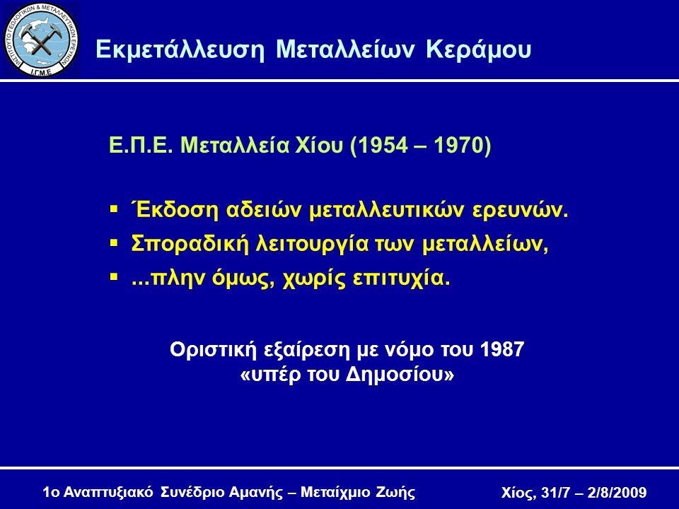 Χίος, 31/7 – 2/8/2009 1ο Αναπτυξιακό Συνέδριο Αμανής – Μεταίχμιο Ζωής Εκμετάλλευση Μεταλλείων Κεράμου  Έκδοση αδειών μεταλλευτικών ερευνών.