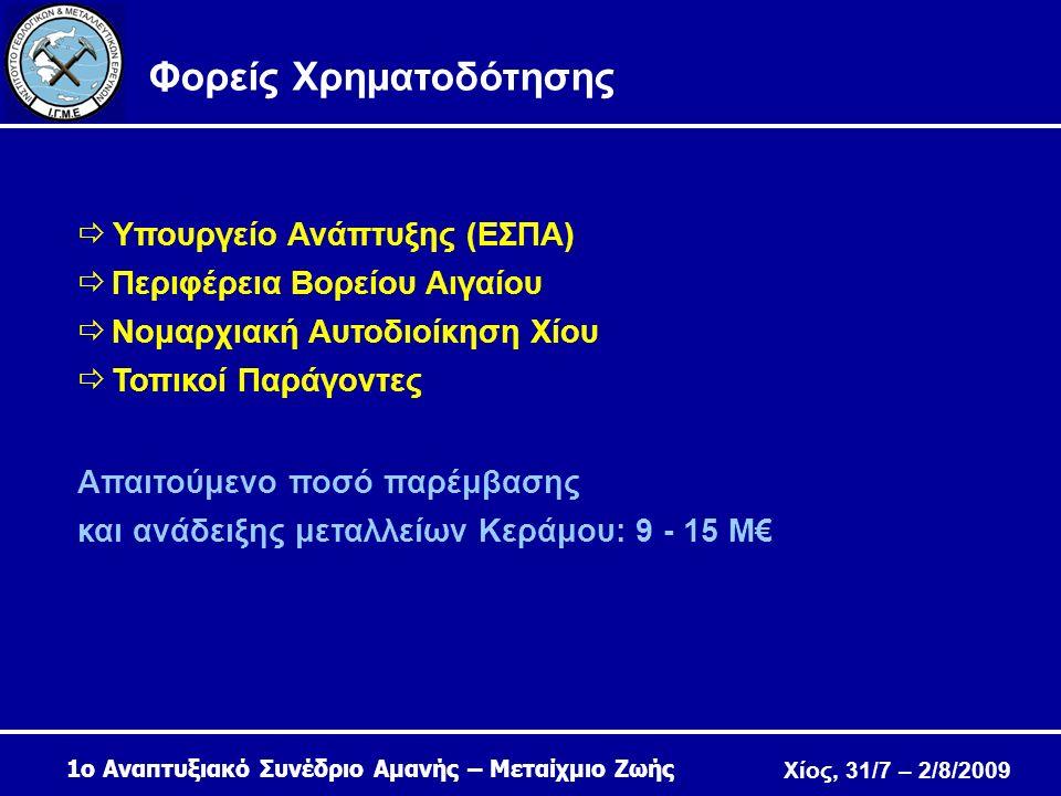 Χίος, 31/7 – 2/8/2009 Φορείς Χρηματοδότησης  Υπουργείο Ανάπτυξης (ΕΣΠΑ)  Περιφέρεια Βορείου Αιγαίου  Νομαρχιακή Αυτοδιοίκηση Χίου  Τοπικοί Παράγοντες Απαιτούμενο ποσό παρέμβασης και ανάδειξης μεταλλείων Κεράμου: 9 - 15 M€ 1ο Αναπτυξιακό Συνέδριο Αμανής – Μεταίχμιο Ζωής