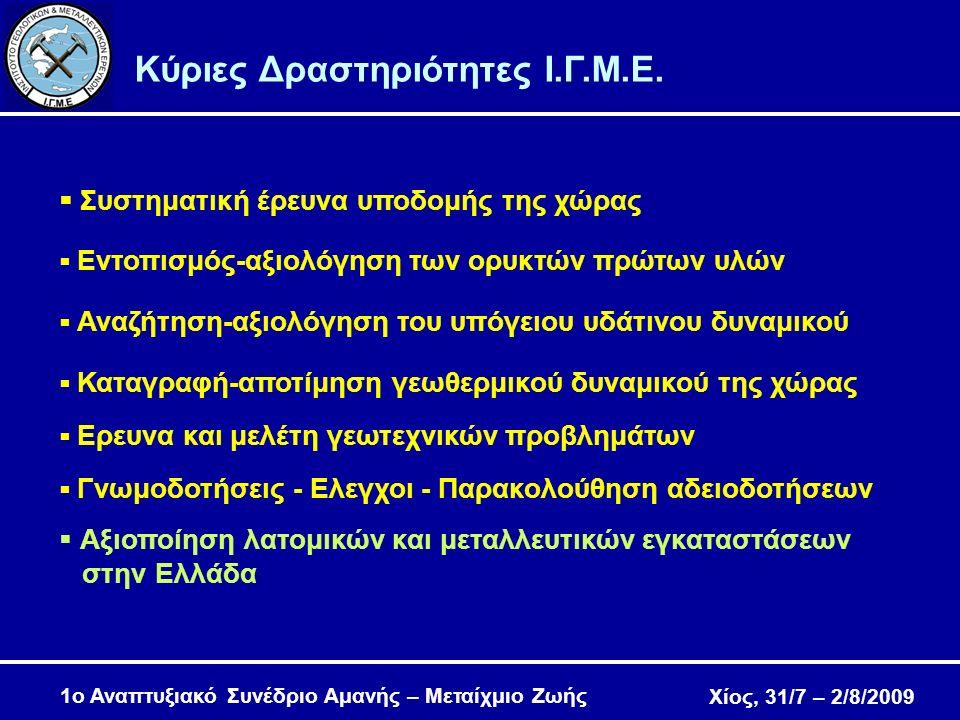 Χίος, 31/7 – 2/8/2009 1ο Αναπτυξιακό Συνέδριο Αμανής – Μεταίχμιο Ζωής Ελληνικαί Μεταλλευτικαί Επιχειρήσεις (1949-1954) Συγκρότημα Μποδοσάκη  Μονάδα παραγωγής ηλεκτρικού ρεύματος (90 kW)  Συγκρότημα πλυντηρίων, επίπλευσης και χημείου  Προβλήτα φορτοεκφόρτωσης στα Αγιάσματα.