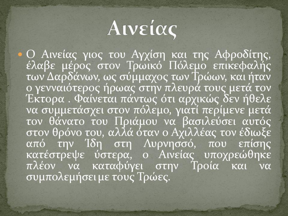 Ο Αινείας γιος του Αγχίση και της Αφροδίτης, έλαβε μέρος στον Τρωικό Πόλεμο επικεφαλής των Δαρδάνων, ως σύμμαχος των Τρώων, και ήταν ο γενναιότερος ήρωας στην πλευρά τους μετά τον Έκτορα.