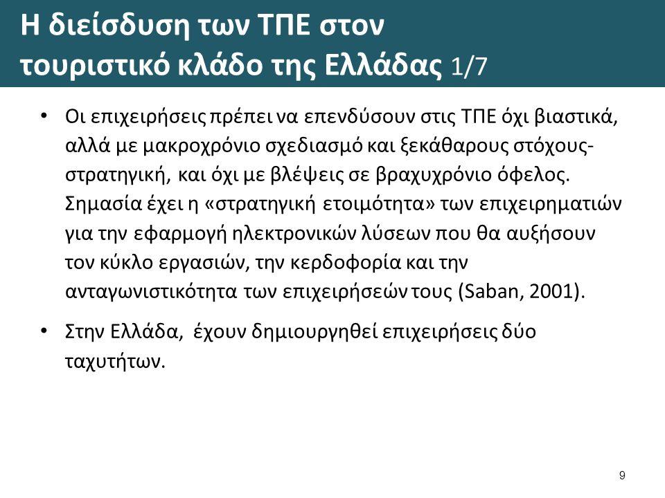 Η διείσδυση των ΤΠΕ στον τουριστικό κλάδο της Ελλάδας 1/7 Οι επιχειρήσεις πρέπει να επενδύσουν στις ΤΠΕ όχι βιαστικά, αλλά με μακροχρόνιο σχεδιασμό και ξεκάθαρους στόχους- στρατηγική, και όχι με βλέψεις σε βραχυχρόνιο όφελος.